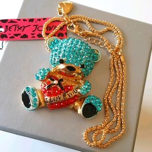 NEW BJ Necklace Blue Bear Crystal Pendant Chain